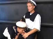 Teenage sea cadets suck each other
