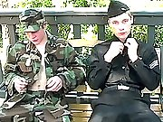 Cute army twink studs stroking dicks outdoors in these ones